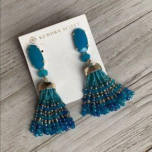 Kendra Scott Dove Tassel Earrings Blue & Gold NEW